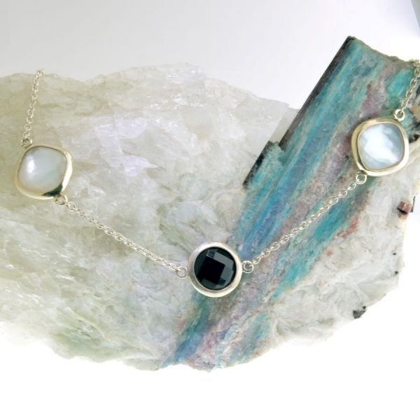 Sterling Silver Necklace with Mother of Pearl Doublet and Onyx