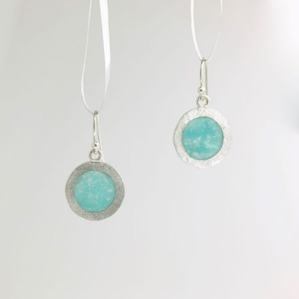 Sterling Silver Dime Earrings with Dark Aquamarine Inlay