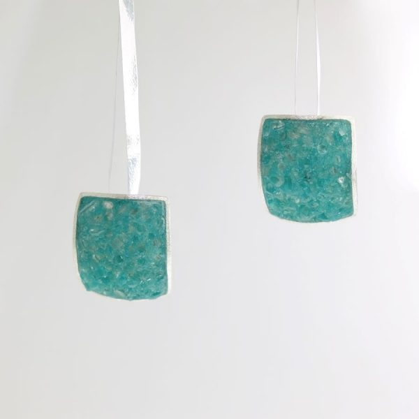 Sterling Silver Large Square Post Earrings with Aquamarine Inlay