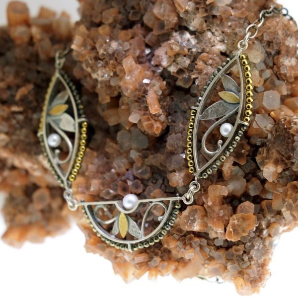 Sterling Silver and Yellow Gold Necklace with Gold Hematite, Pyrite, And Pearls
