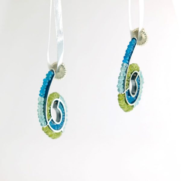 Sterling Silver Spiral Earrings with Peridot, Blue Topaz, and Apatite