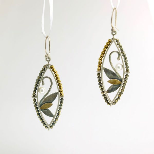 Sterling Silver with Gold Hematite, Pyrite, and White Pearls