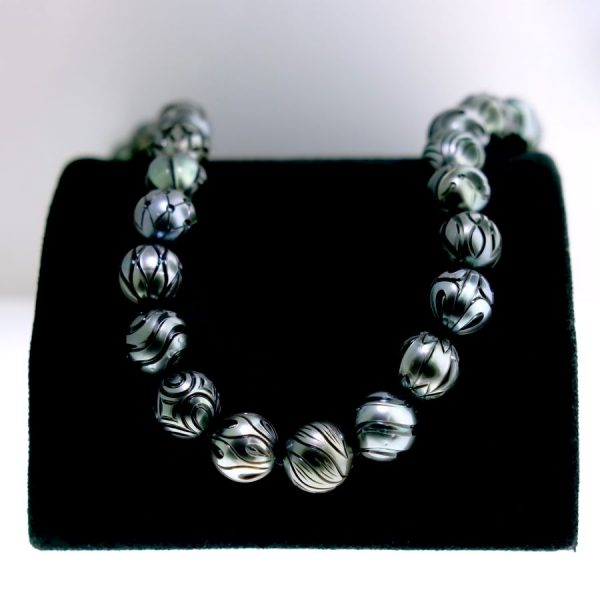 "18"" Carved Black Sea Pearl Necklace"