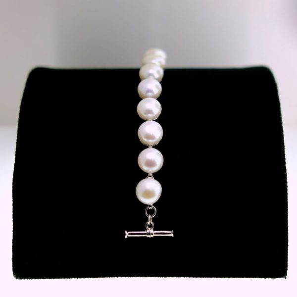 Sterling Silver Button Pearl Bracelet