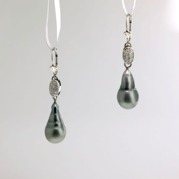 White Diamond and Tahitian Pearl Drop Earrings