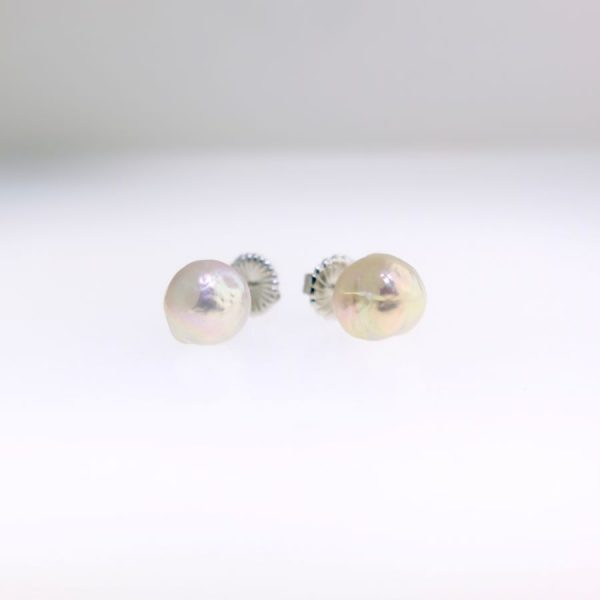 Pink Baroque Pearl Studs with White Gold