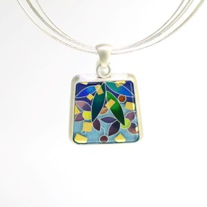 Sterling Silver Cloisonné Enamel Pendant with Hanging Flower Motif