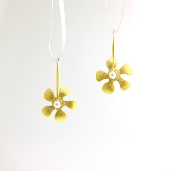vermeil and sterling silver flower earrings with cultured pearl keith lewis