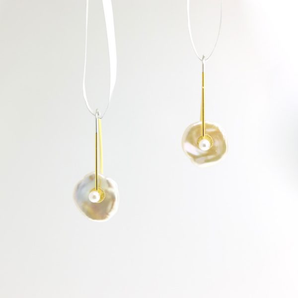 keshi pearl, sterling silver, and vermeil earrings with white pearl center keith lewis