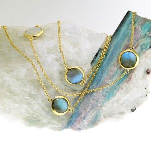 vermeil necklace with moonstone and labradorite