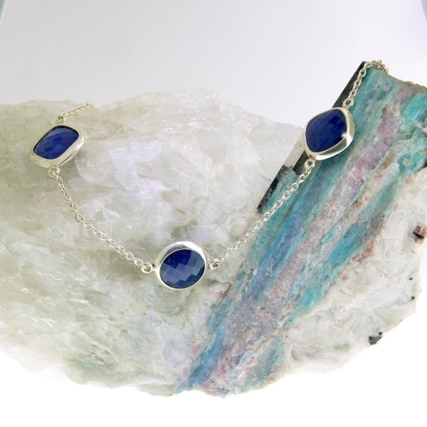 sterling silver necklace with lapis