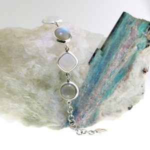 sterling silver bracelet with labradorite and moonstone