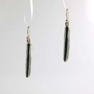 Sterling silver pod earrings with black tourmaline inlay david urso