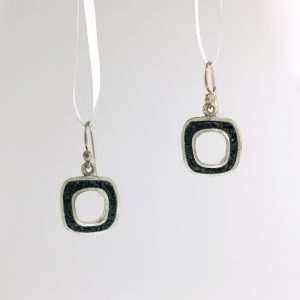 Sterling silver open swear earrings with black tourmaline inlay