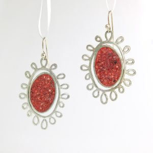 Sterling silver earrings with garnet inlay david urso
