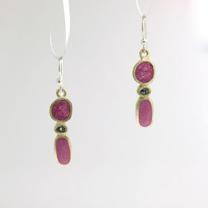 bronze stick stack earrings with pink tourmaline inlay david urso