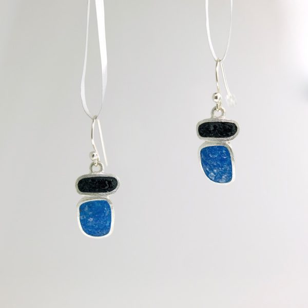 Sterling silver short stack earrings with black and blue quartz inlay david urso