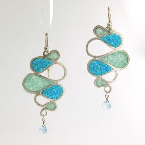 sterling silver ribbon earrings with aquamarine and turquoise inlay david urso