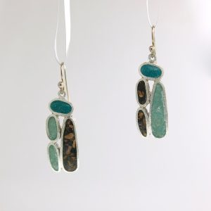 sterling silver monolith earrings with aquamarine, peacock quartz, and bark inlay david urso
