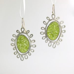 sterling silver sole earrings with green tourmaline inlay david urso