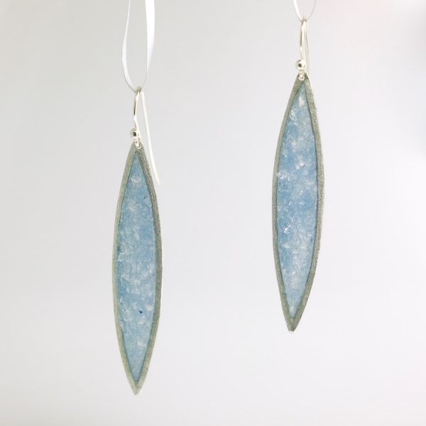 Sterling silver sliver earrings with slate quartz inlay david urso