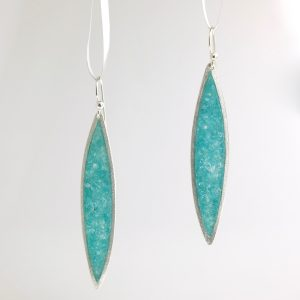 sterling silver sliver earrings with peacock quartz inlay david urso