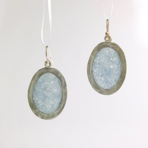 sterling silver mirror earrings with slate quartz inlay
