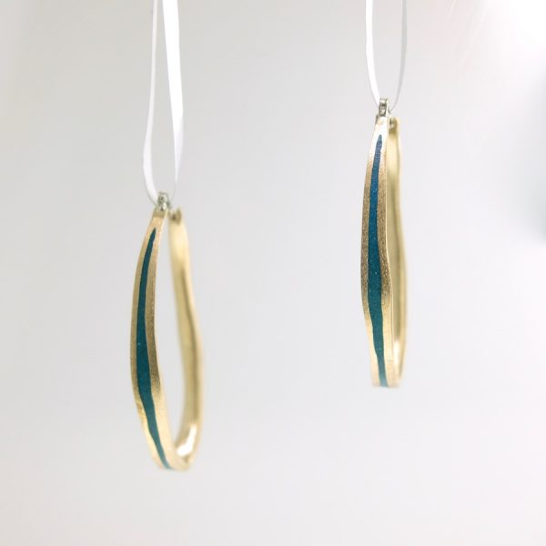 bronze medium oval hoop earrings with peacock resin david urso