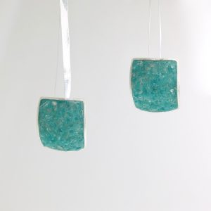 sterling silver large square post earrings with aquamarine inlay david urso