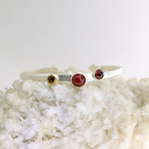 Sterling silver cuff with carnelian, citrine, and garnet david urso