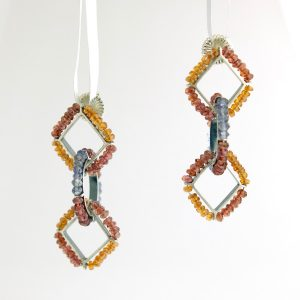 sterling silver dangle earrings with citrine, garnet, and labradorite kinzig design