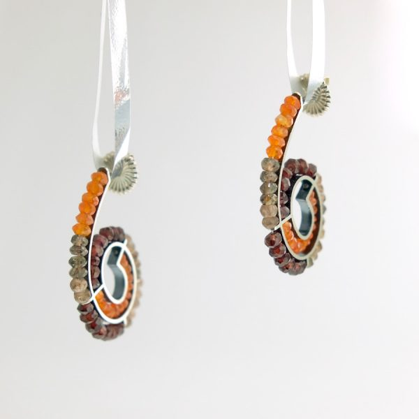Sterling silver spiral earrings with carnelian, citrine, and androsite Kinzig Design