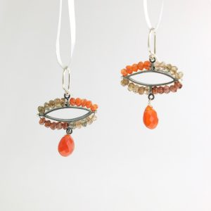 sterling silver dangle earrings with citrine, carnelian, and androsite kinzig design