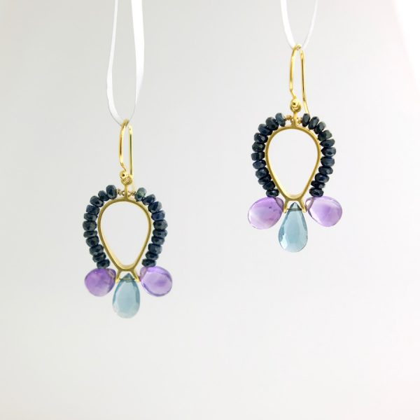 vermeil dangle earrings with sapphire, amethyst, and london blue topaz, kinzig design