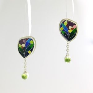 sterling silver earrings with enamel and peridot cabochons jungwhon joo