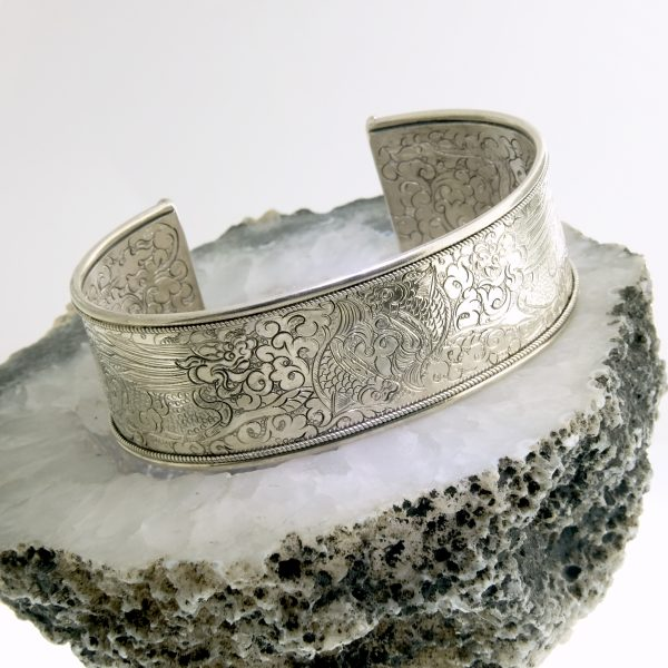 sterling silver hand engraved twin fish cuff